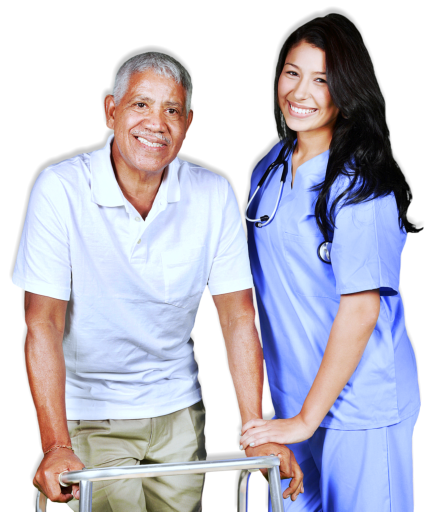 nurse assisting an old man in walking